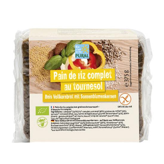 Ψωμί Ρυζιού ολικής σε φέτες με Ηλιόσπορο χωρίς γλουτένη (375γρ)