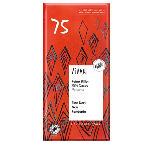 Μαύρη Σοκολάτα 75% με κακάο Παναμά & ζάχαρη καρύδας (80γρ)