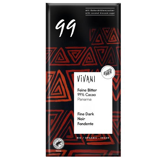 Μαύρη Σοκολάτα 99% με κακάο Παναμά & ζάχαρη καρύδας (80γρ)